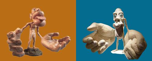 Klein mannetje in het brein, een homunculus voor voelen links en voor bewegen rechts.